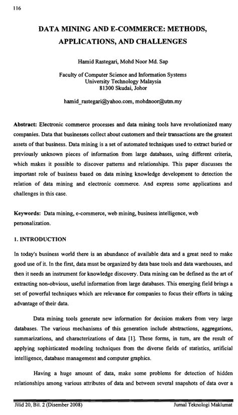 (PDF) Data mining and e-commerce : methods, applications