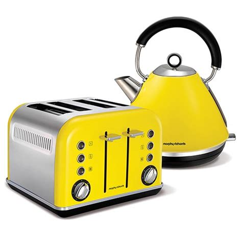 Yellow Kettle And Toaster Set yellow accents traditional pyramid kettle and 4 slice toaster set