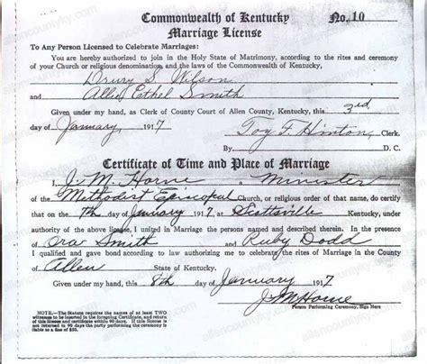 Smith County Marriage Records 1917 Marriage Records