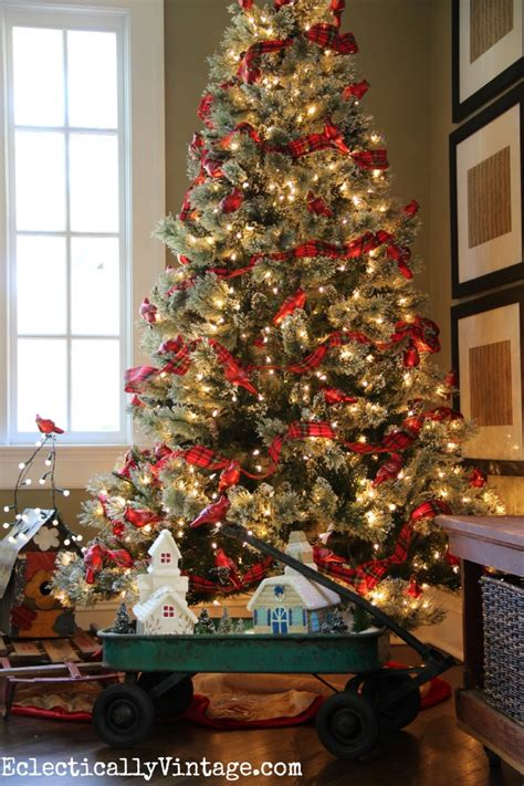 christmas tree decorating ideas with plaid ribbon home for house tours