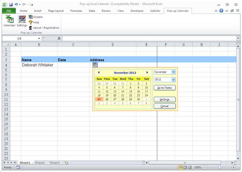 how to make a calendar popup in excel pop up excel calendar excel add ins software for pc
