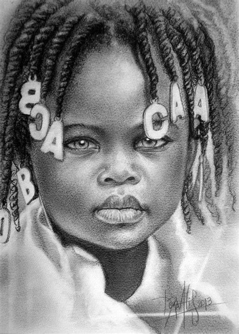Niño de raza negra 64 Lápiz de Grafito sobre papel Guarro