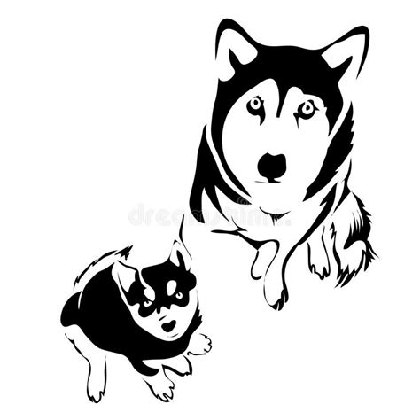 magic tattoo logo vector outline dog and puppy husky top view stock vector image