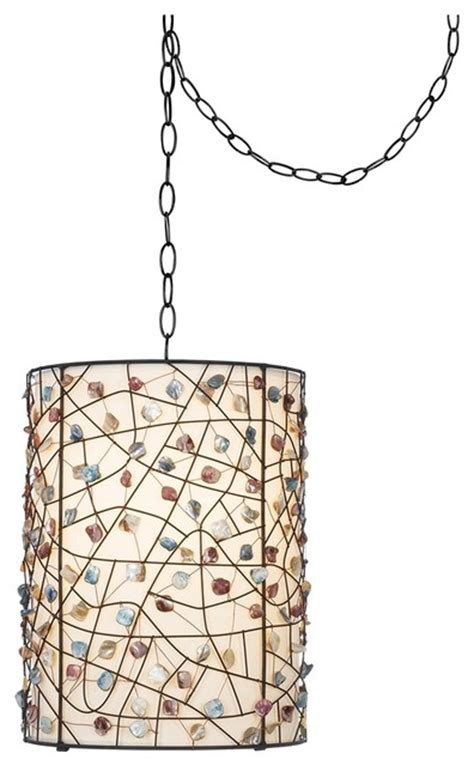 Plug In Swag Lamps Chandeliers Contemporary Pearly Colored Stone Bronze Finish Plug In