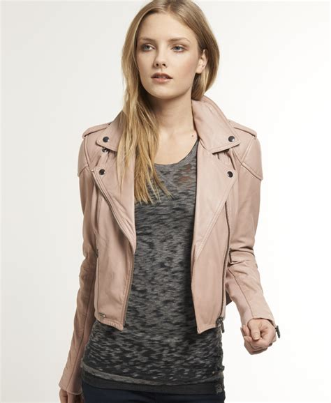 Superdry Black Leather List Grey new womens superdry victory biker leather jacket pink