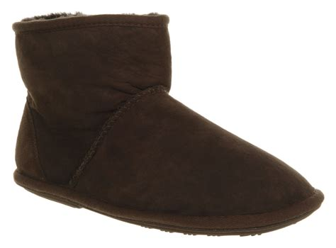 mens just sheepskin chester slipper mid boot choc suede
