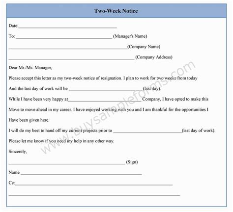 2 weeks notice template word two week notice form template in word sle format