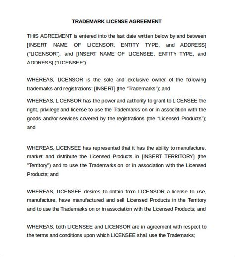 brand licensing agreement template sle license agreement 8 exle format