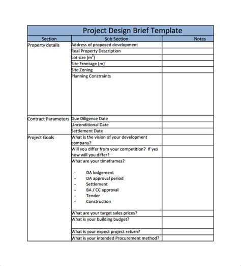 project brief template word 8 project brief templates to for free sle