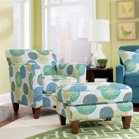 blue patterned chair with ottoman allegra chair ottoman set by la z boy wolf and