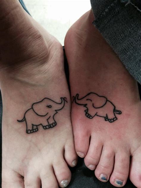 mother of two elephant tattoo tattoos pinterest mother and daughter elephants on feet super cute