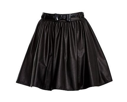 black leather look pu skater skirt black lookcubes