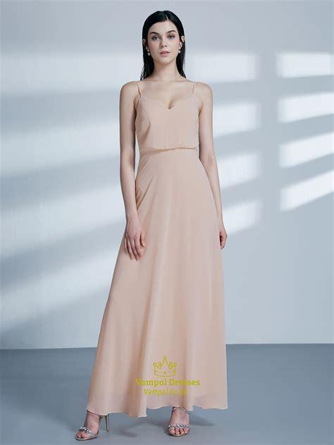 simple   blush pink spaghetti strap chiffon long prom