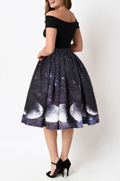s chic moon galaxy printed elastic waist midi skirt