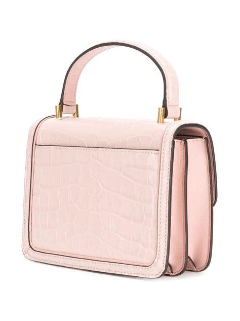 Ready Toryburch Backpack Croco Embossed Mini lyst burch juliette embossed mini top handle satchel in pink