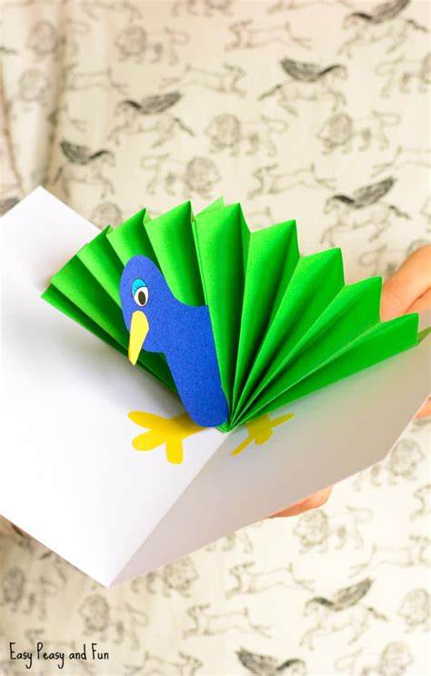 Crafts To Make With Paper - peacock pop up card paper craft easy peasy and