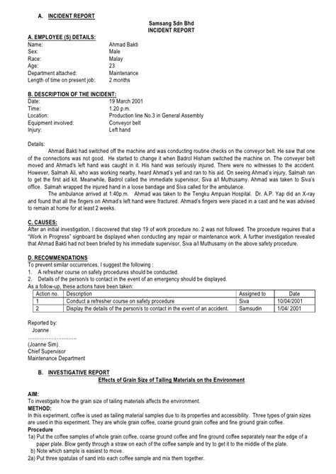 Exle Of Incident Report Letter In Hospital Incident Report