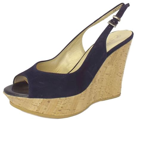 kaiser riga navy suede slingback wedge sandals