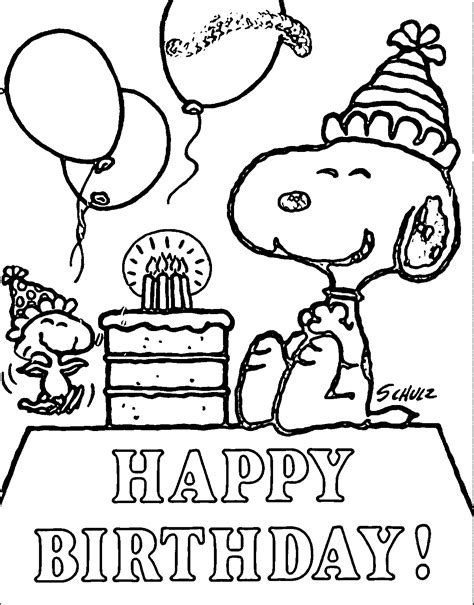 snoopy birthday coloring page snoopy happy birthday quote coloring page my pins