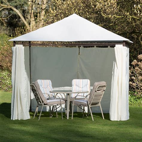heavy duty gazebo kingfisher heavy duty gazebo with side curtains robert dyas