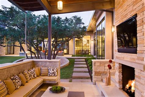 outdoor living plans family home with outdoor living room and pool modern