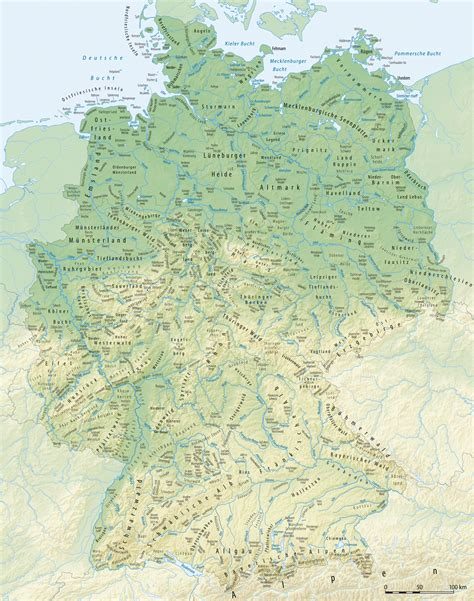 germany physical map physical map of germany 2008 size