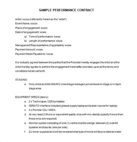dance contract template 12 performance contract templates free word pdf