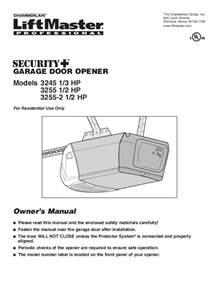Overhead Door Garage Door Opener Manual Chamberlain Garage Door Opener 3245 1 3 Hp User S Guide Manualsonline