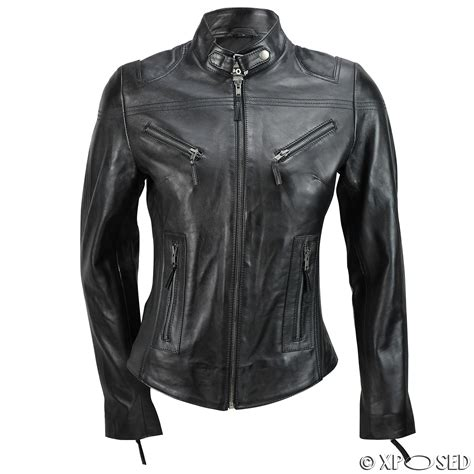 ladies brown biker ladies womens genuine real leather vintage slim fit red
