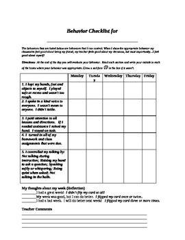 Student Self Assessment Daily Behavior Checklist By John Blackwell Edd Assessment Checklist Template For Teachers