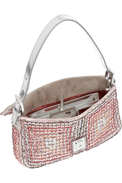 Fendi Embellished Bag by Fendi Baguette Embellished Silk Shoulder Bag In Lyst