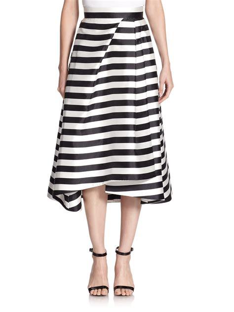 nicholas striped midi skirt in black lyst