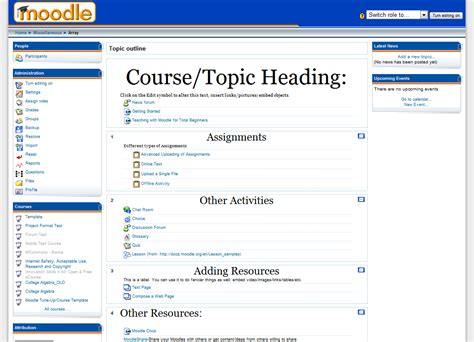 Moodle Course Template getting started course templates moodle news
