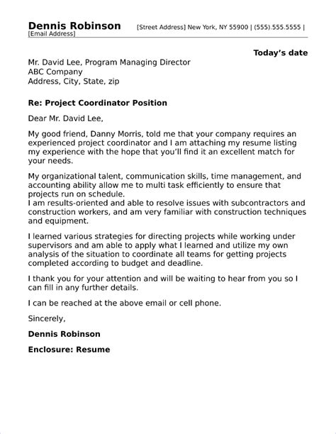 cover letter for project coordinator position cover letter for project coordinator position