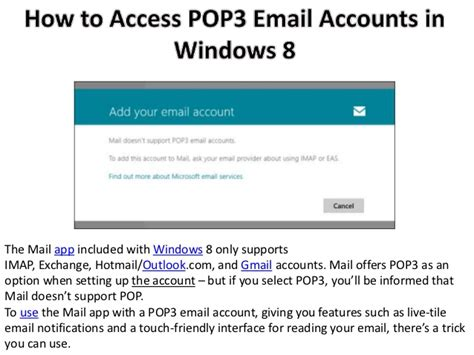pop3 email application for android how to access pop3 email accounts in windows 8