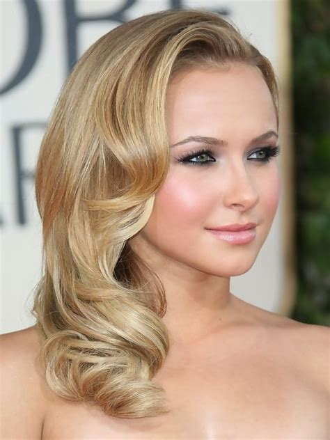 shoulder sweep haircuts women hayden panettiere medium length hairstyle side sweep