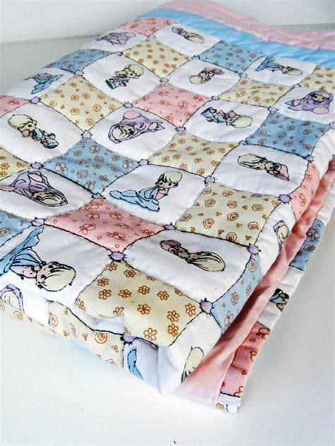 vintage precious moments handmade cotton quilt