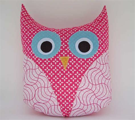 Handmade Owl Cushion - owl pillow handmade pink plush owl shaped pillow by