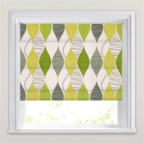 green patterned roller blind patterned roman blinds grey white olive vibrant lime