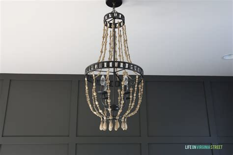 diy wood bead chandelier using chalk paint on virginia
