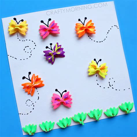 pasta crafts for bow tie noodle butterfly craft for crafty morning