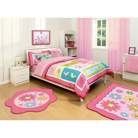bright little girls room interior white twin bedroom girl bright pink green purple bird nature flower polka dot