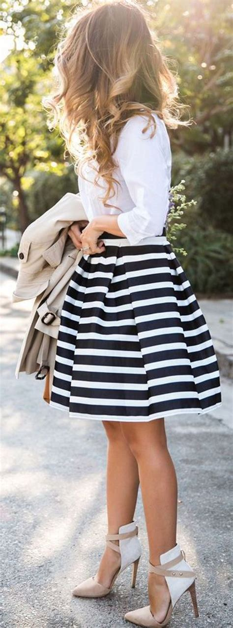 black and white striped skirt black white striped print pleated skirt skirts