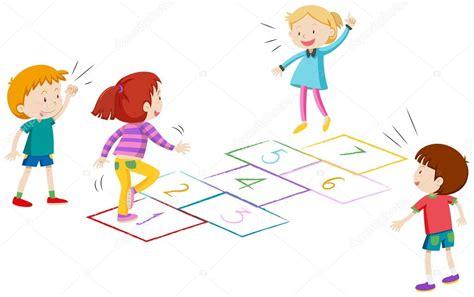 dibujos de niños jugando rayuela ni 241 os y ni 241 as jugando rayuela archivo im 225 genes
