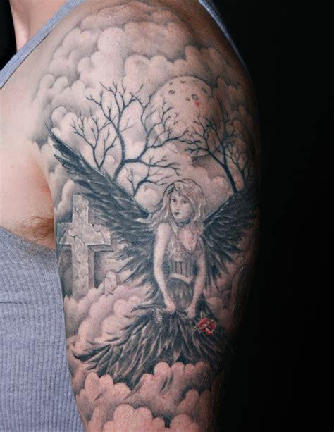 angel themed tattoo black angel arm tattoo tattoomagz