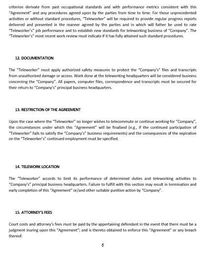 Telework Agreement Template by Ne0226 Teleworking Agreement Template Namozaj