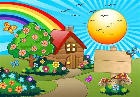 imagenes de paisajes naturales infantiles fotomural de vinilo con casita y arcoiris