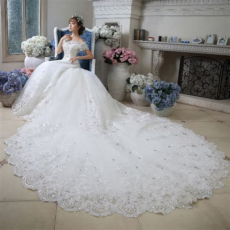 Cathedral Wedding Dress by Boat Neck The Shoulder White Arab Cathedral