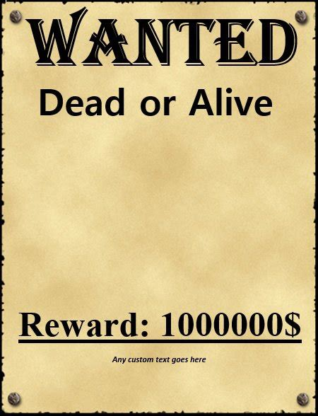 Wanted Poster Template Fbi And Old West Free Crasy Free Wanted Poster Template