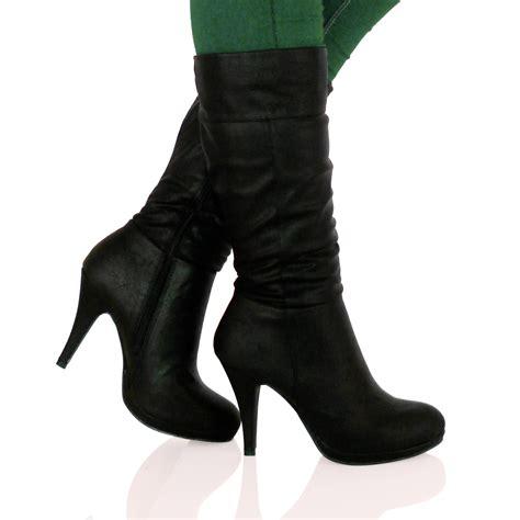 mid calf high heel boots d7x womens mid high stiletto heel mid calf knee